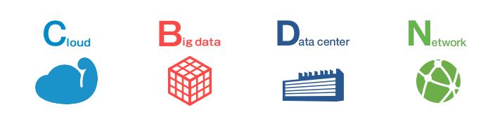 クラウド、ビッグデータ、データセンター、ネットワーク各事業のイラスト