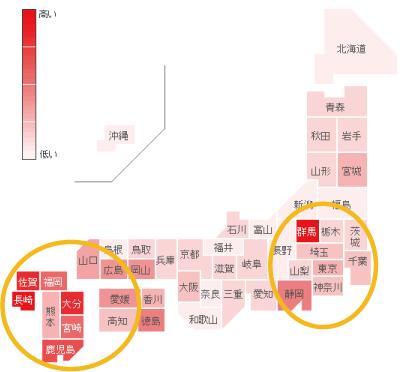 嘔吐下痢症の都道府県別検索分布の図