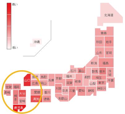 インフルエンザの都道府県別検索分布の図