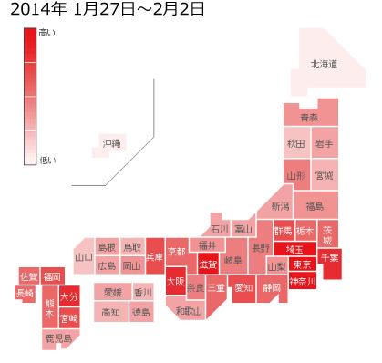 2014年1月27日から2月2日までのインフルエンザの各都道府県別検索分布の図