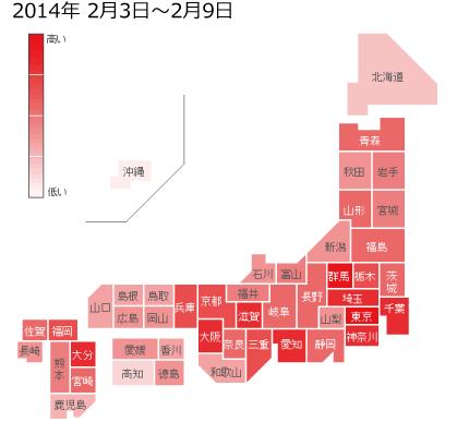 2014年2月3日から2月9日までのインフルエンザの各都道府県別検索分布の図
