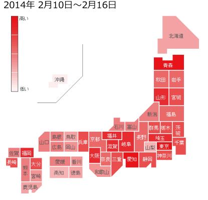 2014年2月10日から2月16日までのインフルエンザの各都道府県別検索分布の図
