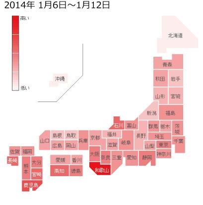 2014年1月6日から1月12日までのインフルエンザの各都道府県別検索分布の図
