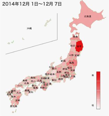 2014年12月1日から12月7日までのインフルエンザの各都道府県別検索分布の図