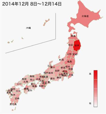 2014年12月8日から12月14日までのインフルエンザの各都道府県別検索分布の図