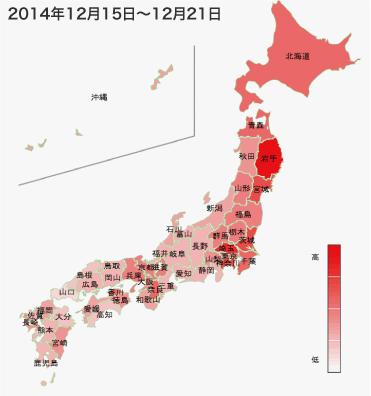 2014年12月15日から12月21日までのインフルエンザの各都道府県別検索分布の図