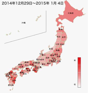 2014年12月29日から2015年1月4日までのインフルエンザの各都道府県別検索分布の図