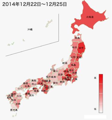 2014年12月22日から12月28日までのインフルエンザの各都道府県別検索分布の図