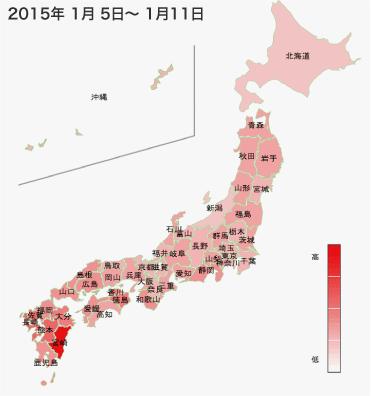 2015年1月5日から1月11日までのインフルエンザの各都道府県別検索分布の図