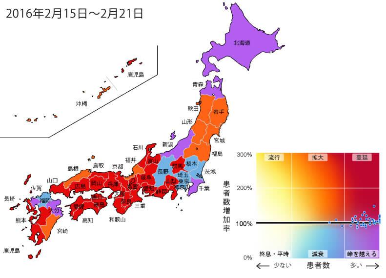 2016年2月15日から2月21日までの間のインフルエンザ状況マップ