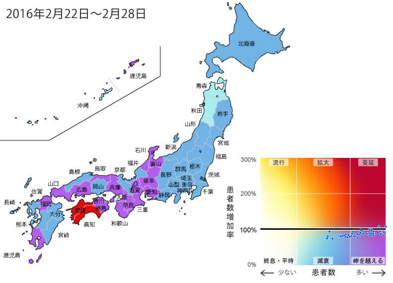 2016年2月22日から2月28日までの間のインフルエンザ状況マップ