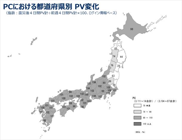 PCにおける都道府県別のPV変化の図(指数:震災後4日間PV計÷前週4日間PV計×100、ログインユーザベース)