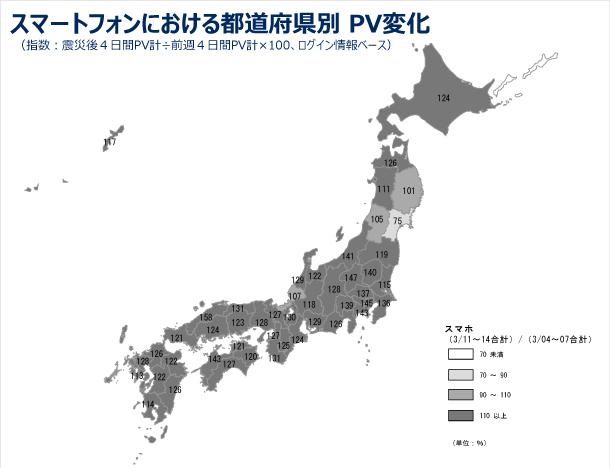 スマートフォンにおける都道府県別のPV変化の図(指数:震災後4日間PV計÷前週4日間PV計×100、ログインユーザベース)