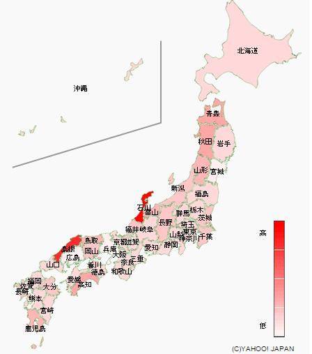 大相撲の関心地域の図