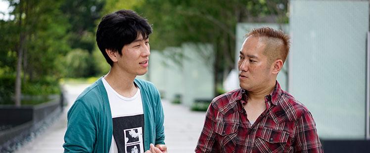 インタビュアー田中宏亮と九乗佳貴の写真