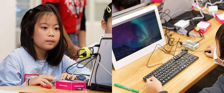 モニターとキーボードを前にマウスを動かし、動作チェックをしていく子供たちの画像