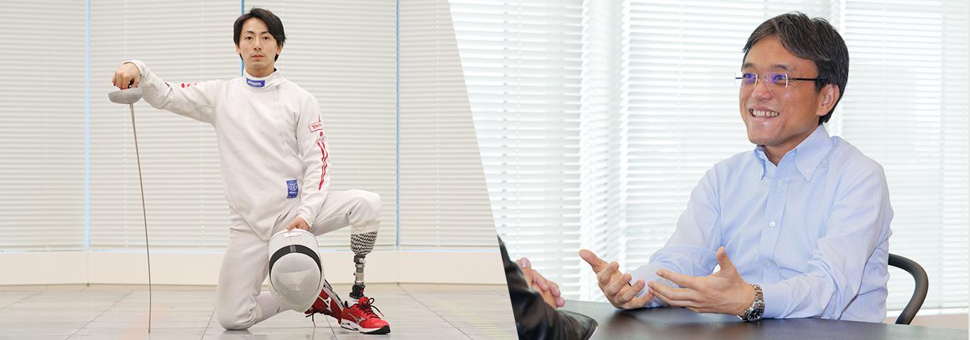 ヤフーで働く車椅子フェンシングの加納選手とヤフー上級執行役員 コーポレートグループ長 本間さんの画像