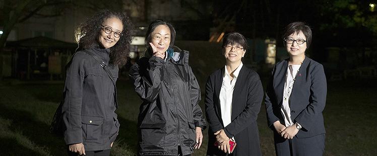 左からプレーパークせたがやの齊藤、高橋、岩崎 中央共同募金会の秋貞