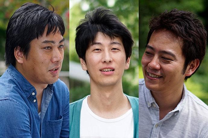 課題解決特集記事に登場するヤフー箱田と九乗と宇野の写真。