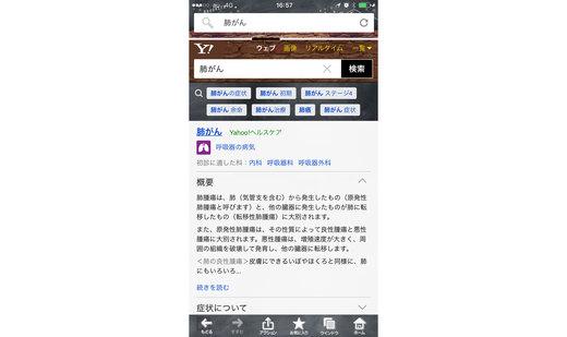 Yahoo!検索で「肺がん」と調べた際の検索結果画面。