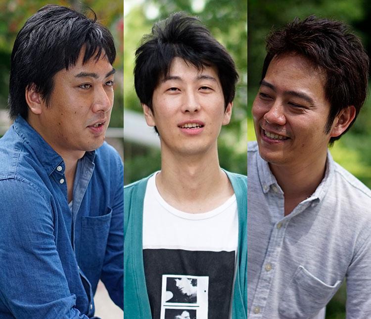課題解決特集記事に登場する箱田慶太と九乗佳貴と宇野雄の写真。