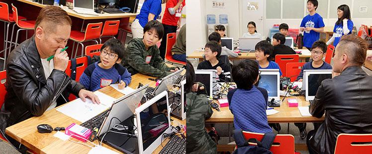 チューターの説明に耳を傾ける子供たち。そんな元気な子供のペースに巻き込まれる42歳田中の画像