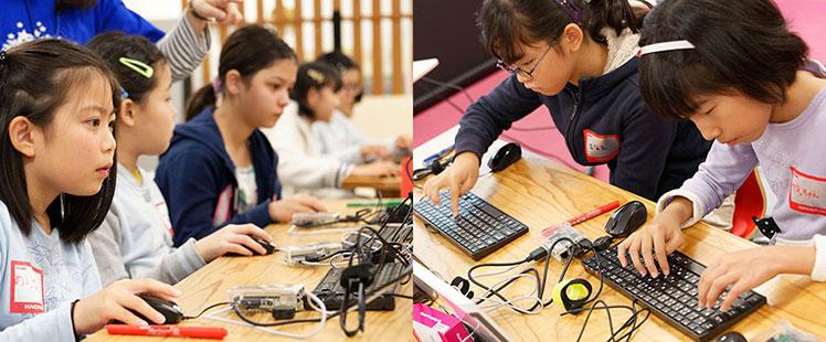 子供たちがプログラミングに取り組んでいる様子