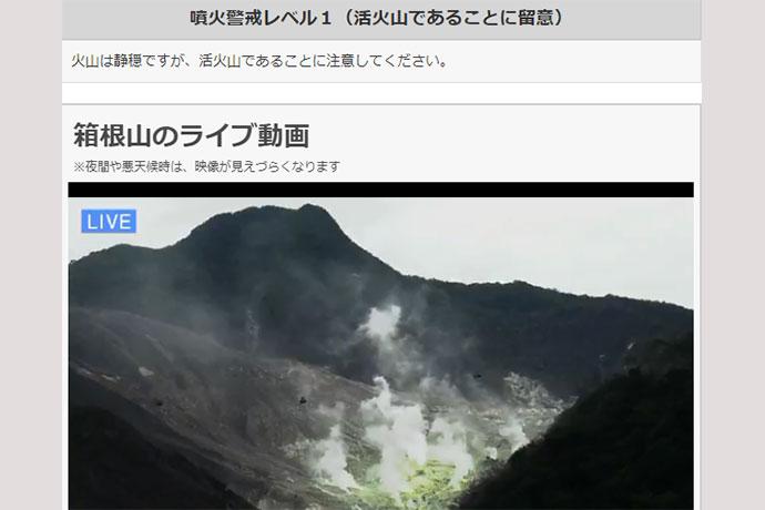 箱根山のライブカメラの画像