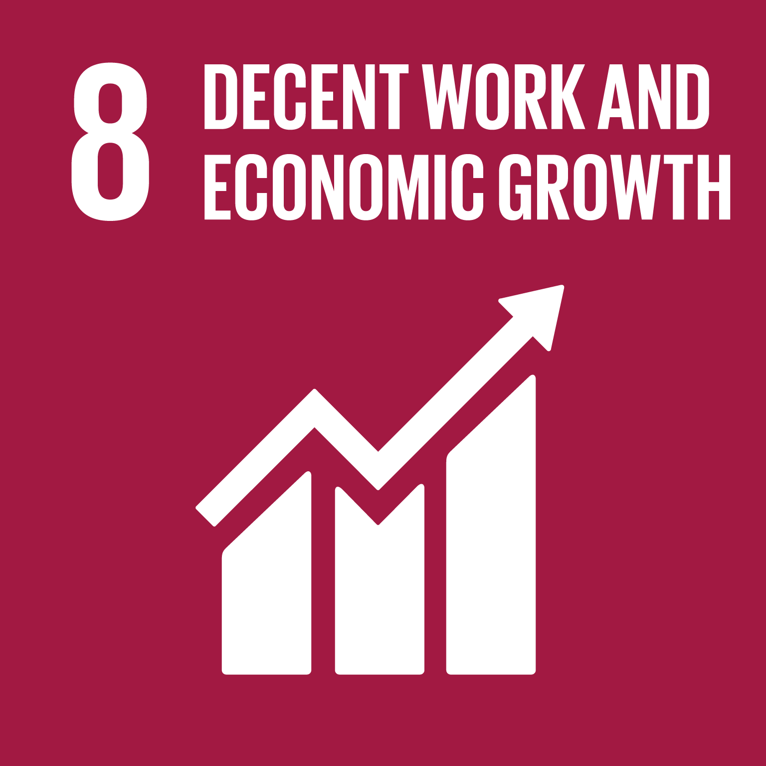 The SDGs icons of DECENT WORK AND ECONOMIC GROWTH