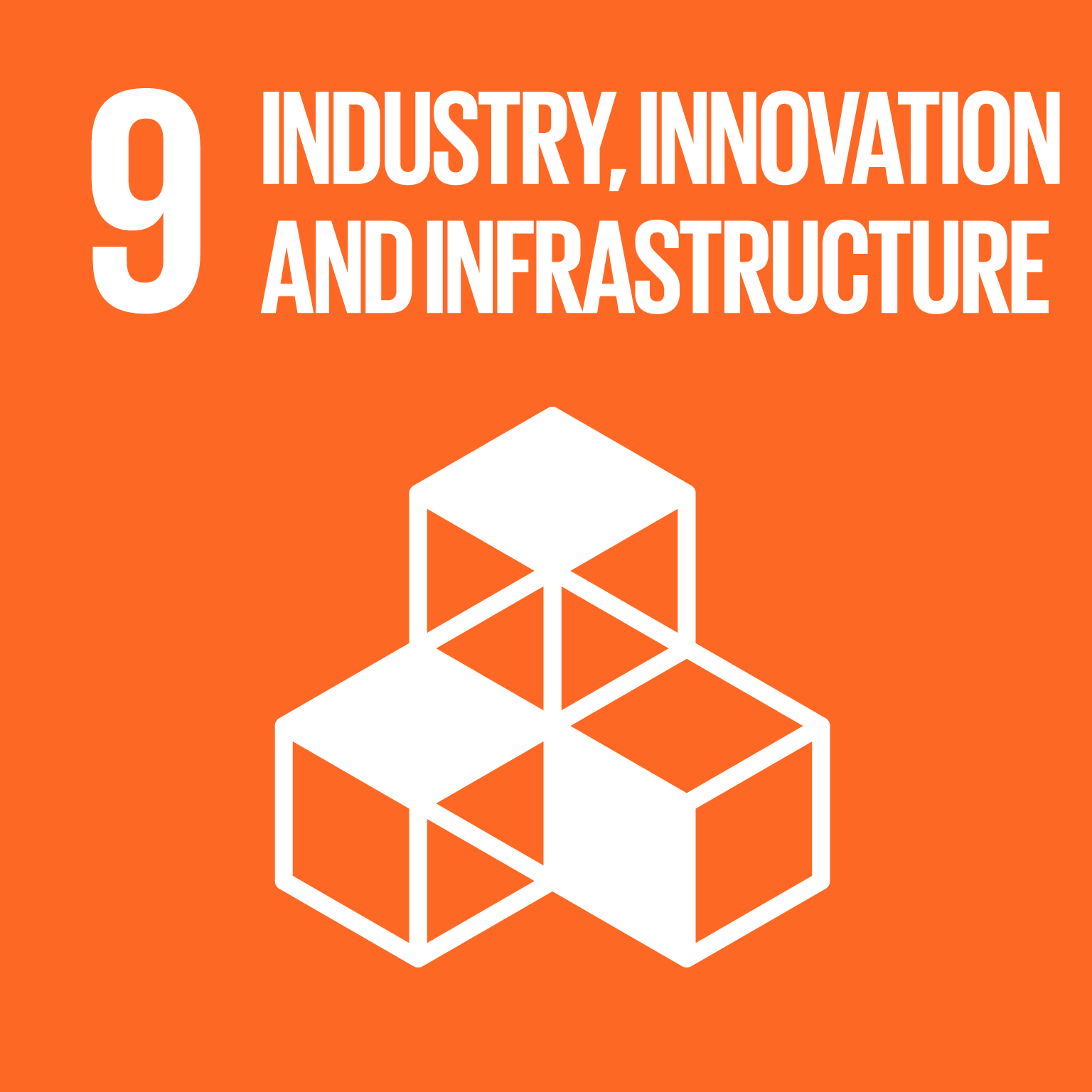 The SDGs icons of INDUSTRY, INNOVATION AND INFRASTRUCTURE