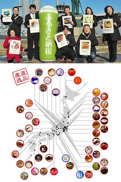世界三大記念館「三笠」の前で、返礼品を用意した事業者達が集合して撮影した写真と、おもてなしギフトに参加している商工会議所を紹介したマップ
