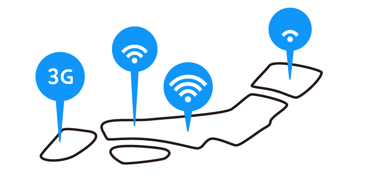 「通信環境改善」におけるパーソナルデータの利用の例を示すイラストです。