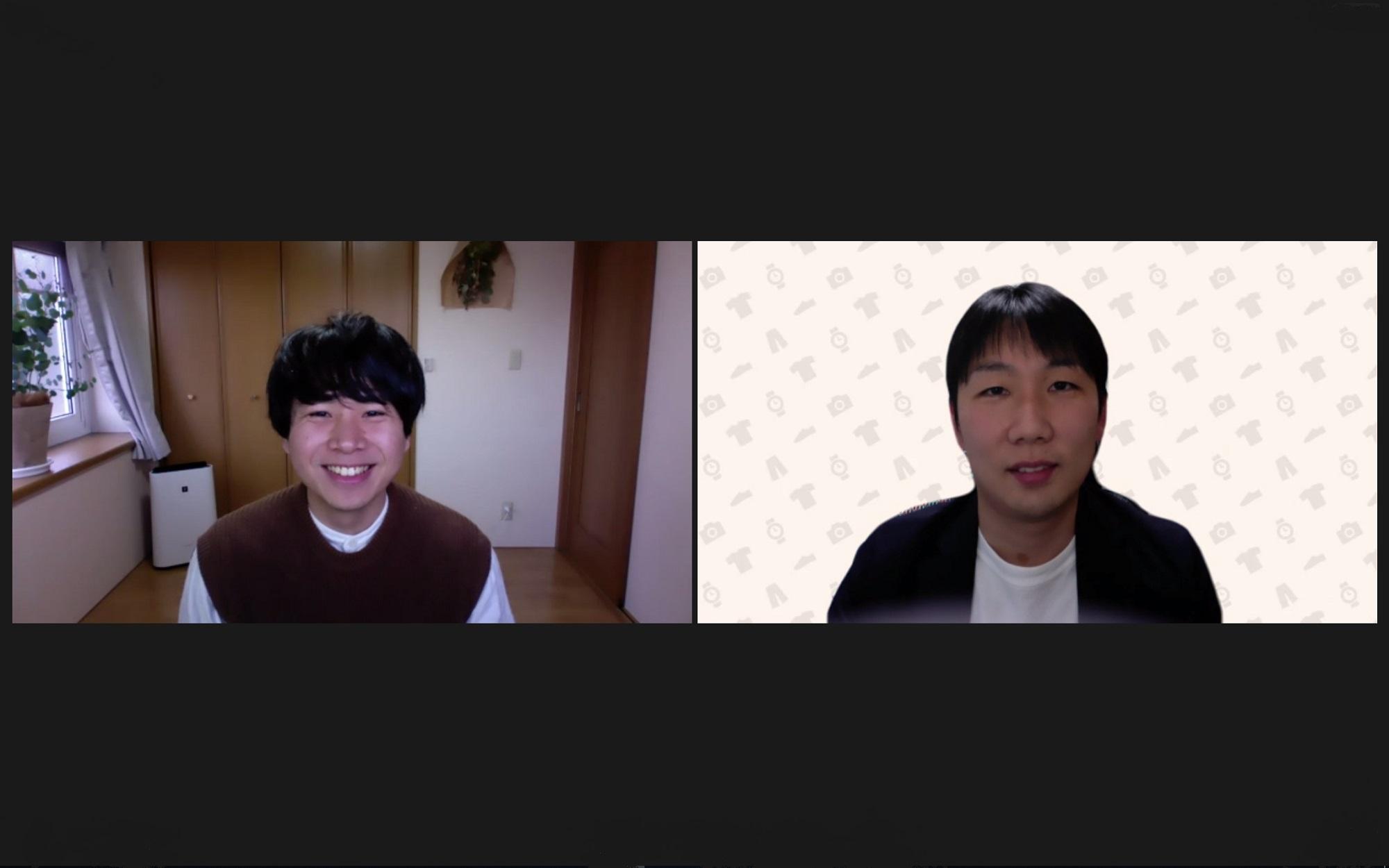 インタビュイー2名がオンライン会議システムを使用し、対談を行っている様子の写真