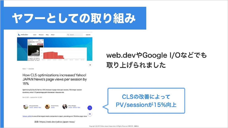 ヤフーの取り組みについて説明したキャプチャ。CLSの改善によってPV/sessionが15%向上したこと、web.devやGoogle I/Oで取り上げられたことを示している。