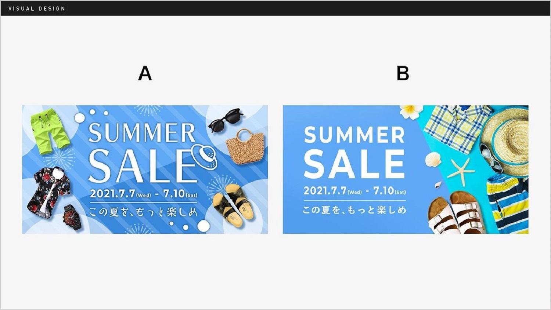 A/B 二つの広告デザインが示されたスライドのキャプチャ。Aは夏っぽいデザインで比較的情報量が多い。Bはシンプルで比較的情報量は少ない。