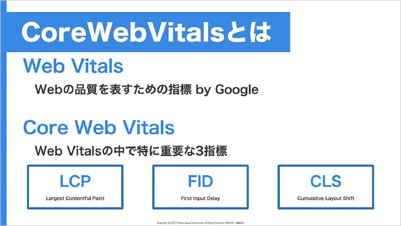 CoreWebVitalsについて説明したキャプチャ。CoreWebVitalsのなかで重要な3つの指標などを示している。
