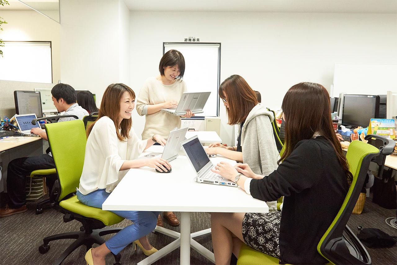フリースペースで会議中の社員の写真