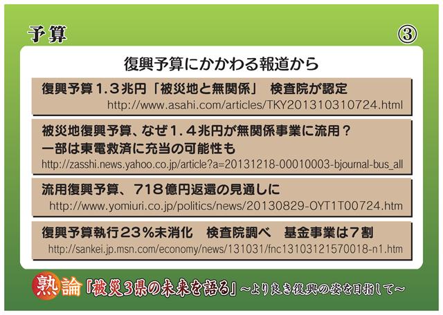 予算 復興予算にかかわる報道から 復興予算1.3兆円「被災地と無関係」検査院が認定 http://www.asahi.com/articles/TKY201310310724.html 被災地復興予算、なぜ1.4兆円が無関係事業に流用? 一部は東電救済に充当の可能性も http://zasshi.news.yahoo.co.jp/article?a=20131218-00010003-bjoumal-bus_all 流用復興予算、718億円返還の見通しに http://www.yomiuri.co.jp/politics/news/20130829-OYT1T00724.htm 復興予算執行23%未消化 検査院調べ 基金事業は7割 http://sankei.jp.msn.com/economy/news/131031/fnc13103121570018-n1.htm