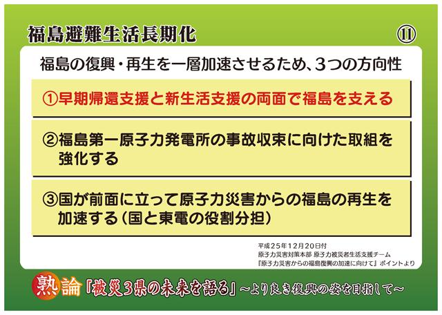 福島避難生活長期化 福島の復興・再生を一層加速させるため、3つの方向性 1 早期帰還支援と新生活支援の両面で福島を支える 2 福島第一原子力発電所の事故収束に向けた取組を強化する 3 国が前面に立って原子力災害からの福島の再生を加速する(国と東電の役割分担)