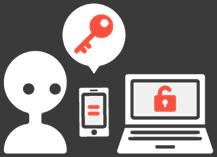 スマホのワンタイムパスワードアプリを使って多要素認証を利用しているイラスト
