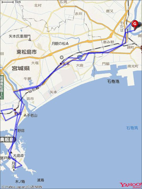 東松島グループライド&ハイキングコースマップの画像