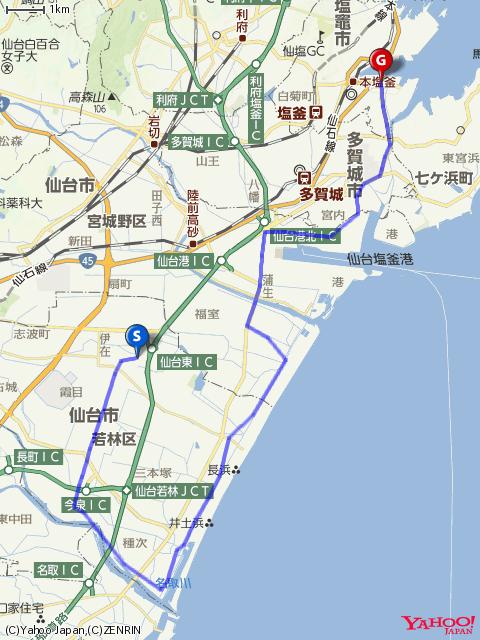 仙台発グループライド&クルージング前半コースマップの画像