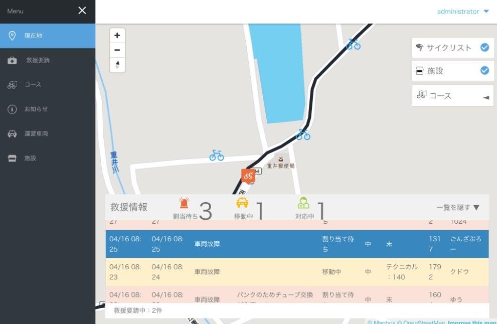 GPS管理画面、ステータス画面の画像