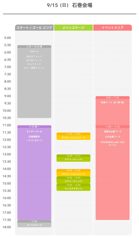 9月15日 - 石巻会場スケジュール表
