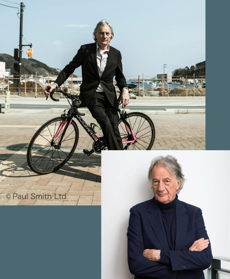 自転車にもたれかかるポール・スミス氏の写真と腕を組むポール・スミス氏の写真