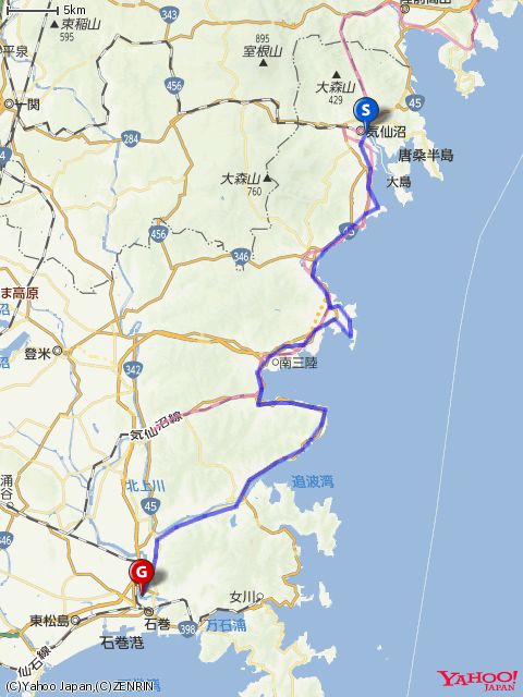 気仙沼ワンウェイフォンドコースマップの画像