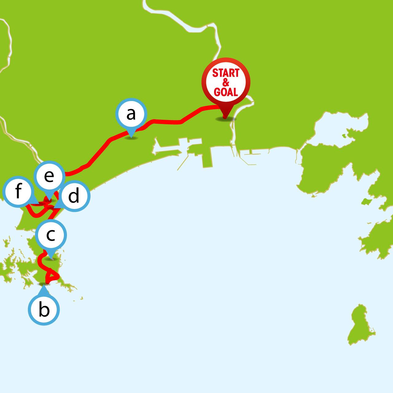 ツール・ド・東北 奥松島ライド&ハイキングコースのマップ