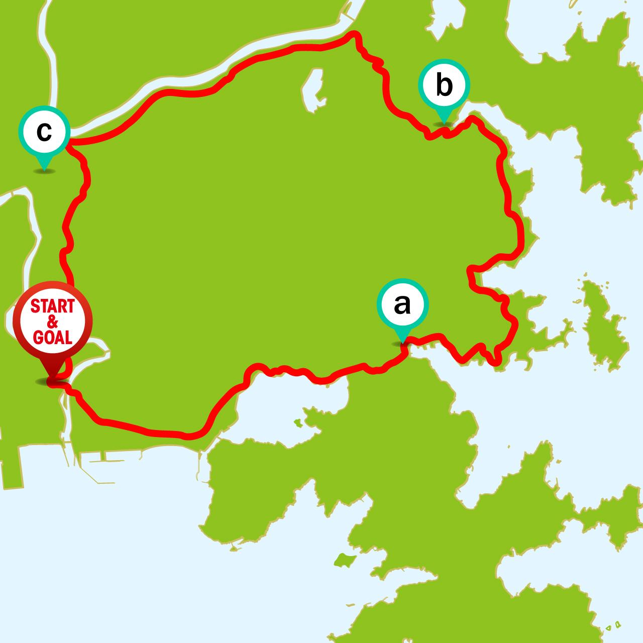ツール・ド・東北 女川・雄勝フォンドコースのマップ