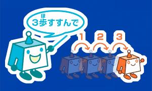 プログラミングのイメージ画像。ロボットに3歩進んでの命令をしているちょボット