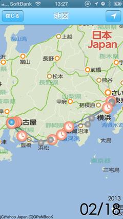 僕の来た道地図画面